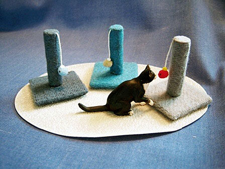 dollhouse cat and scratching posts
