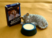dollhouse cat with special dinners food and milk bowl