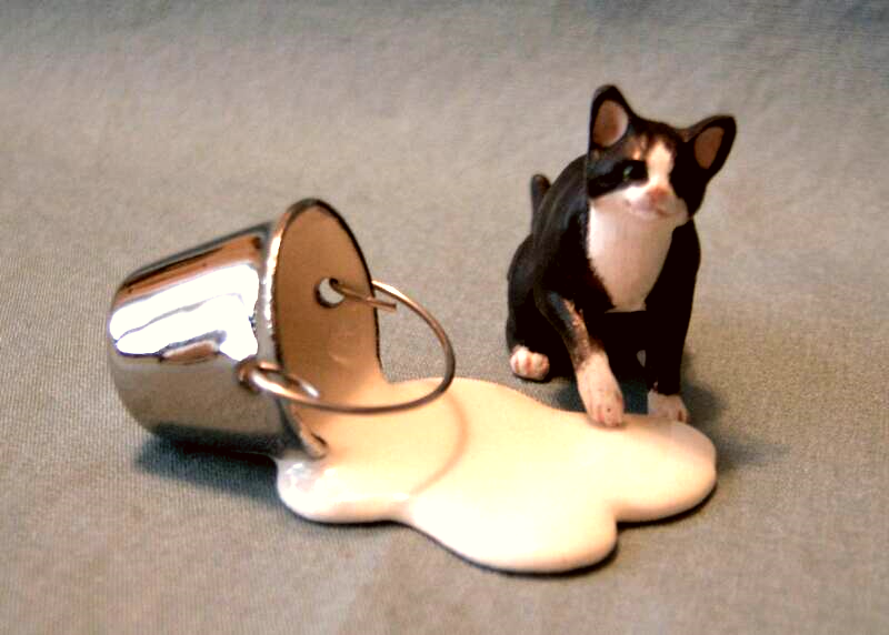 black and white dollhouse cat with spilled milkpail