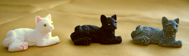 black, white, and gray dollhouse cats
